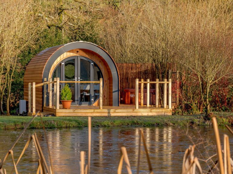 View towards this glamping pod with hot tub