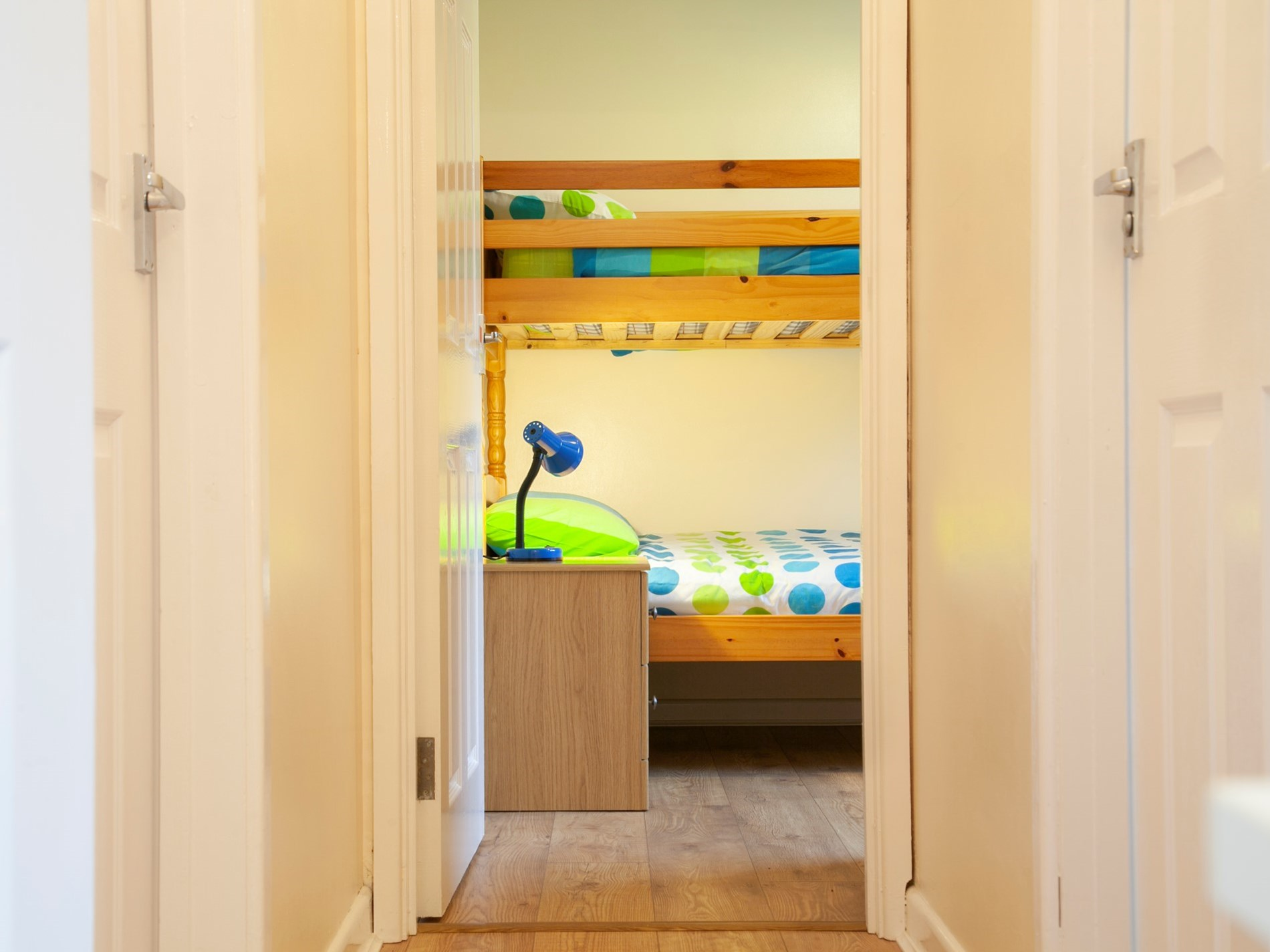 View down the hallway towards the bunk bedroom