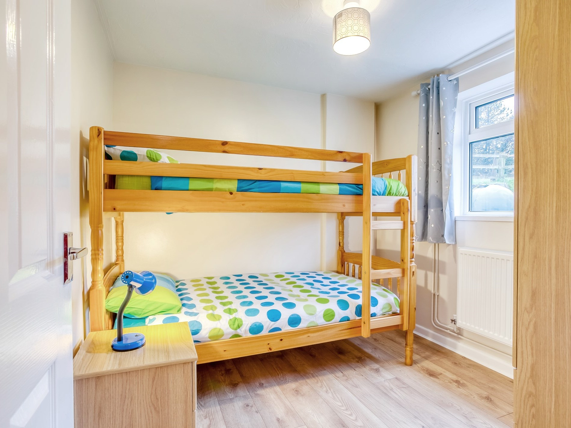 The bunk bedroom is perfect for the children