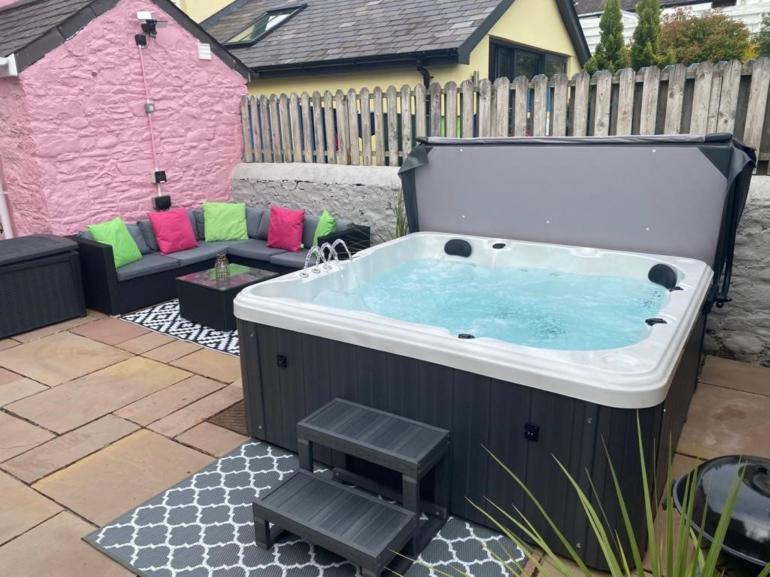 Relax in the newly installed hot tub