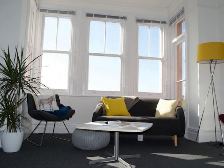 Bright and sunny lounge area