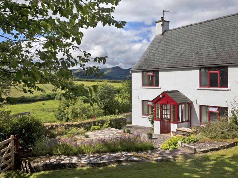 Exterior Penrheol Farmhouse with views across to Pen y Fan and Brecon Beacons