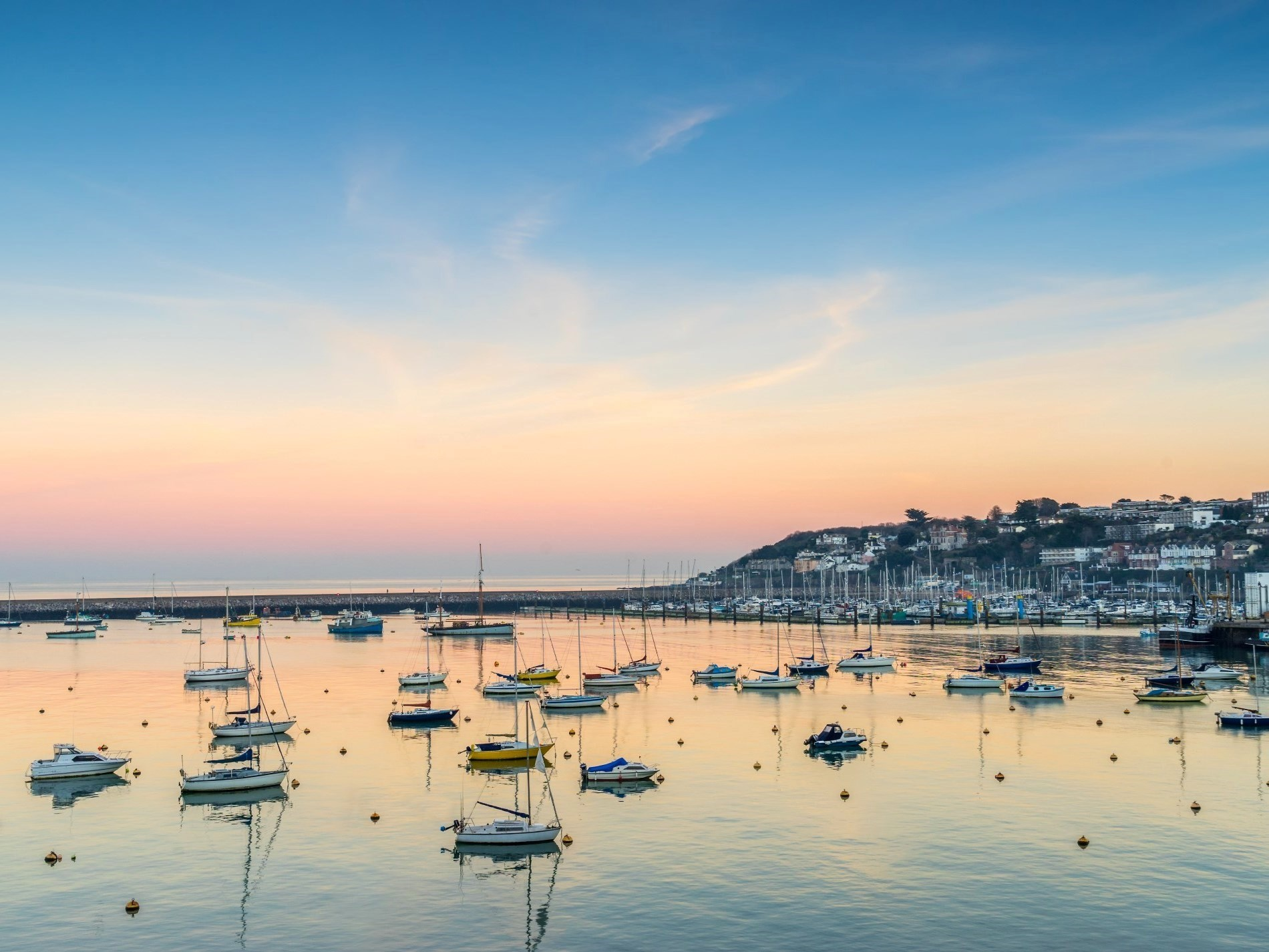 Beautiful views of Brixham Marina at dusk