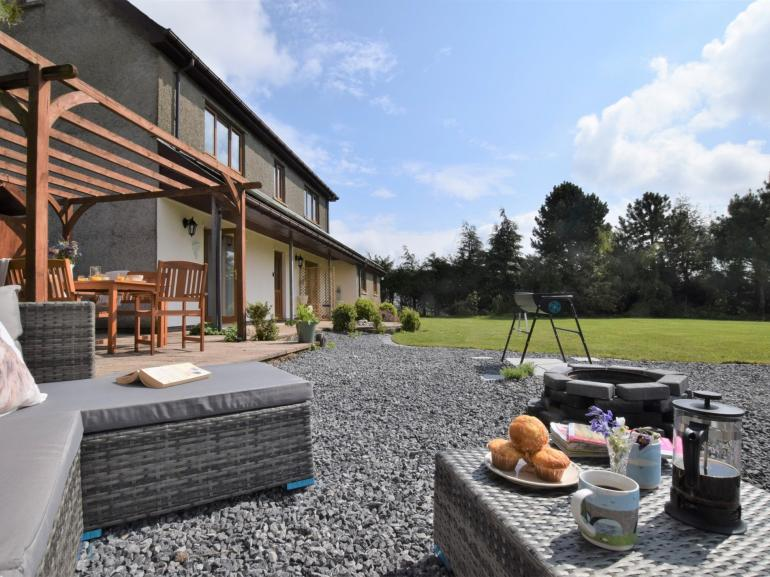 Patio with views across to the Brecon Beacons