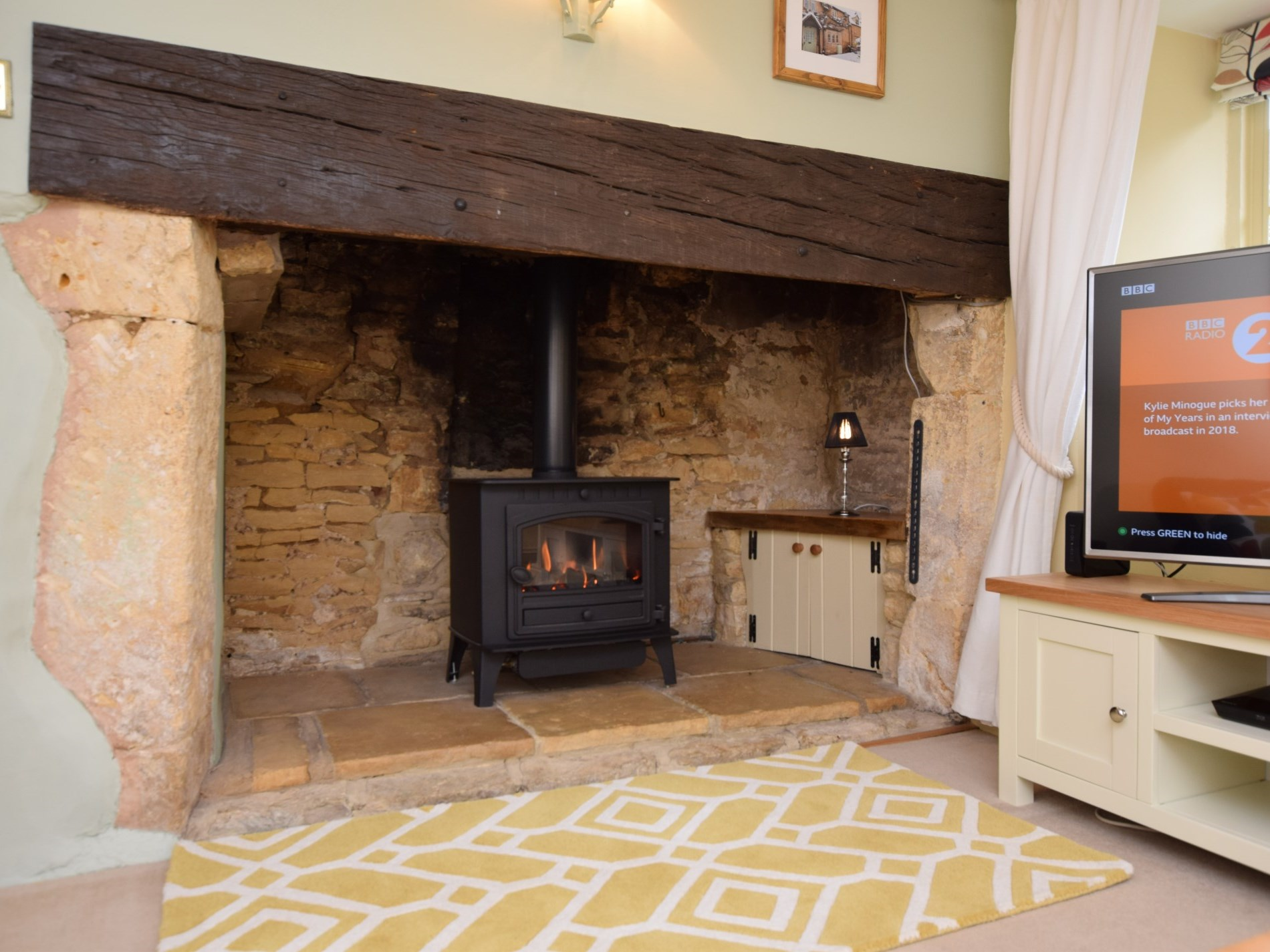 Inglenook fireplace with woodburner