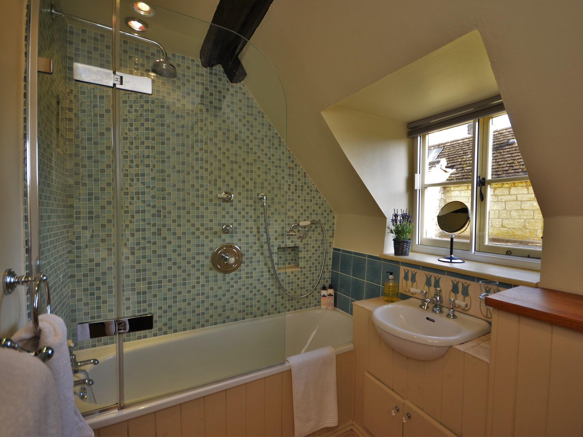 Upstars bathroom with shower over