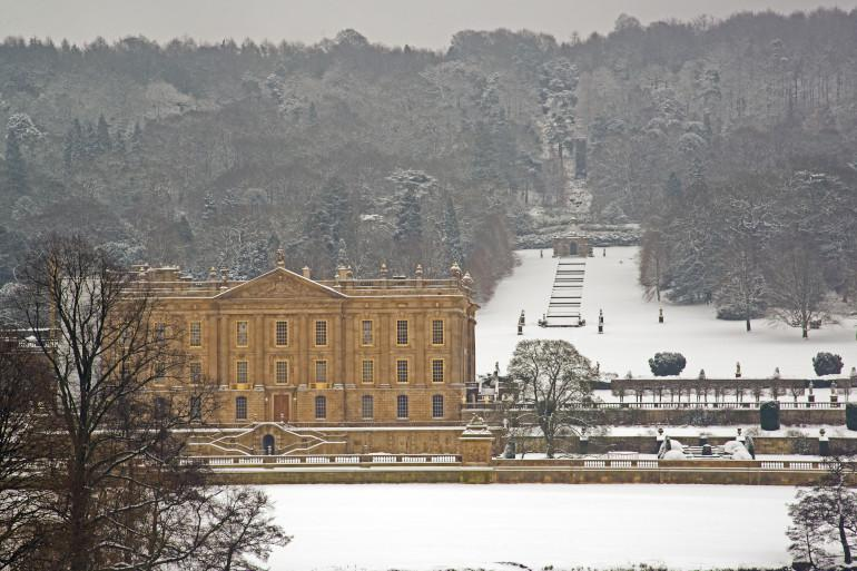 Snow at the Chatsworth Estate in the Peak District