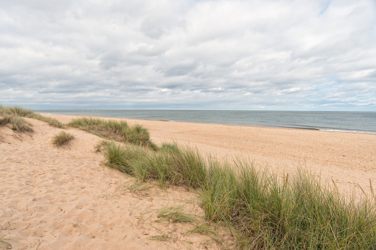 Sand dunes at Winterton-on-Sea beach in Norfolk