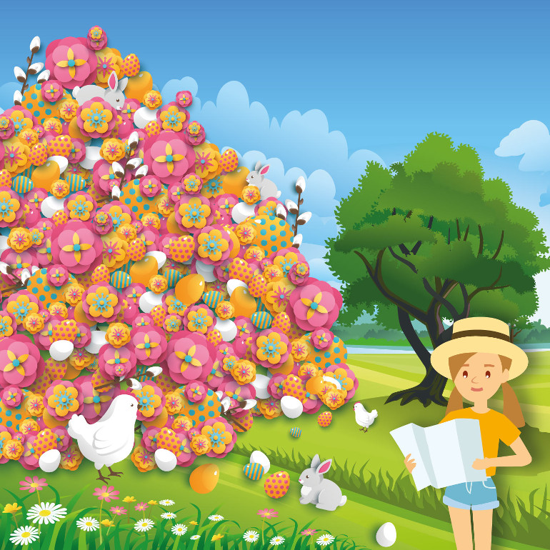Spot the chick amongst the Easter eggs and flowers in our Easter brainteaser