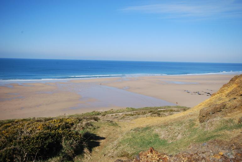 Watergate Bay, a top surfing beach at Newquay in Cornwall, UK