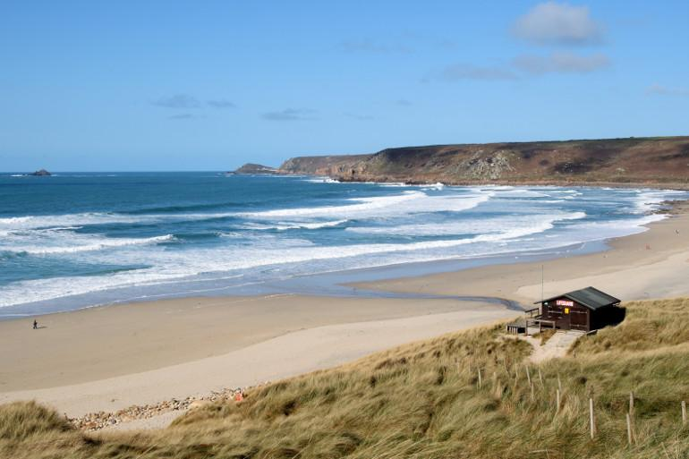 Sennen Cove, a top surfing beach in Cornwall, UK
