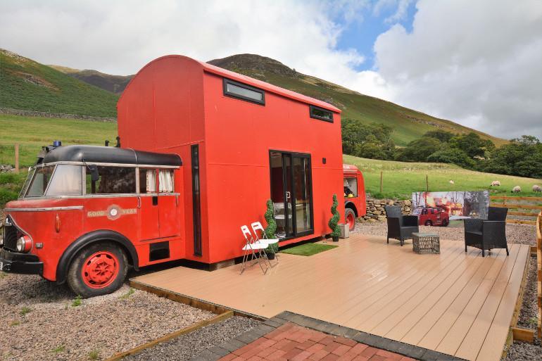 Fun in a fire truck in the Lake District