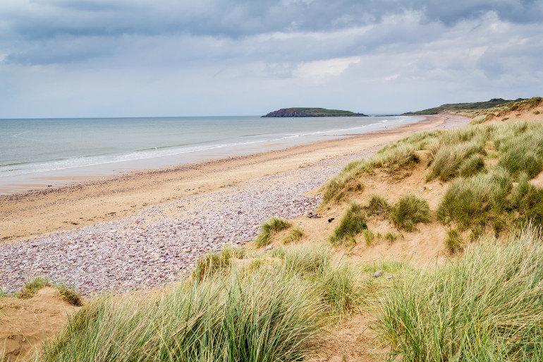 Llangenith beach, a top surfing beach on the Gower, South Wales