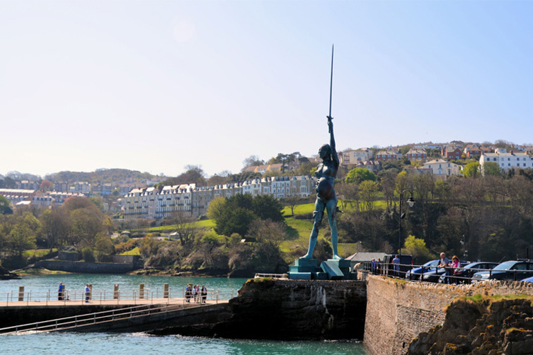 Verity and the seafront in Ilfracombe harbour, Devon