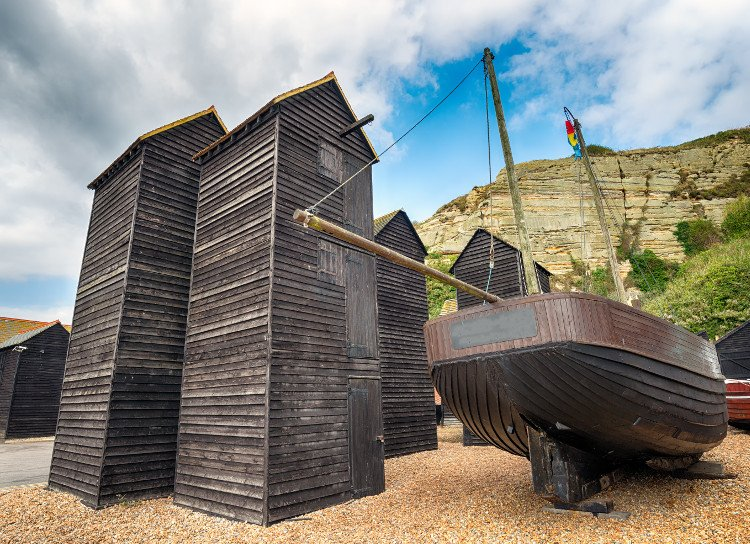 Fishermens towers in Hastings old town, Sussex