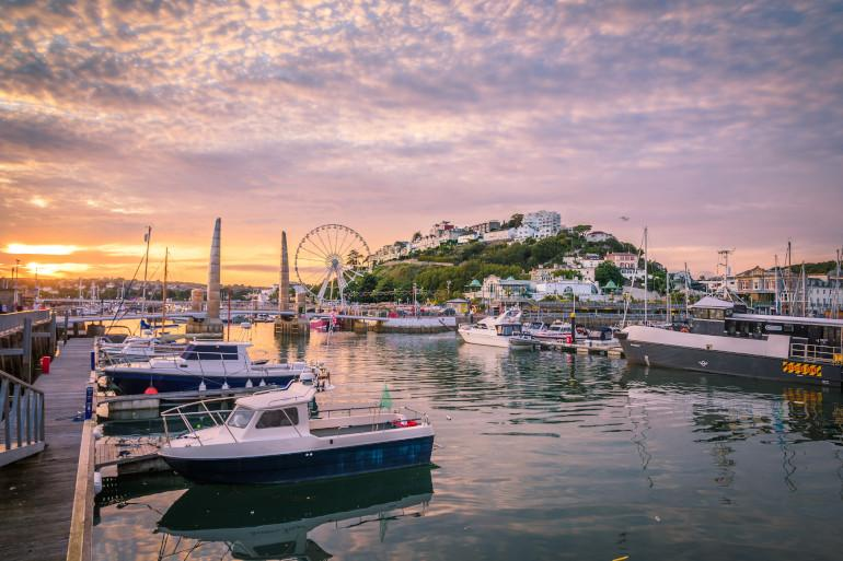 A harbour at sunset