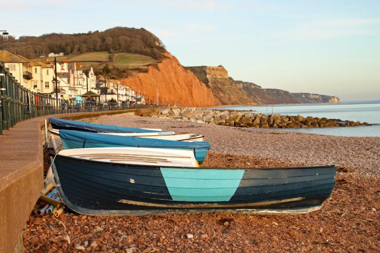Small boats on a shingle beach