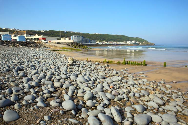 The pebble and sand beach at Westward Ho!