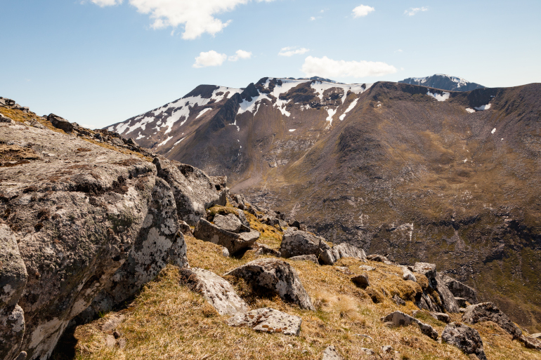 Mountains in the Nevis mountain range in the Scottish Highlands