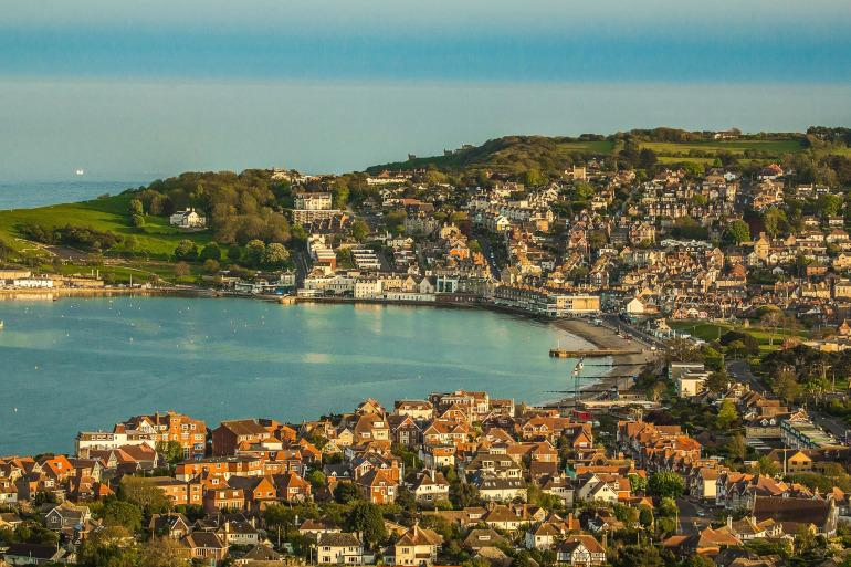 Aerial view of Swanage of Dorset