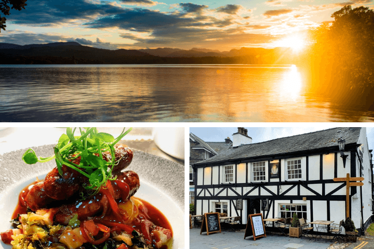 Food from the Queen's Head and sunset from Windermere