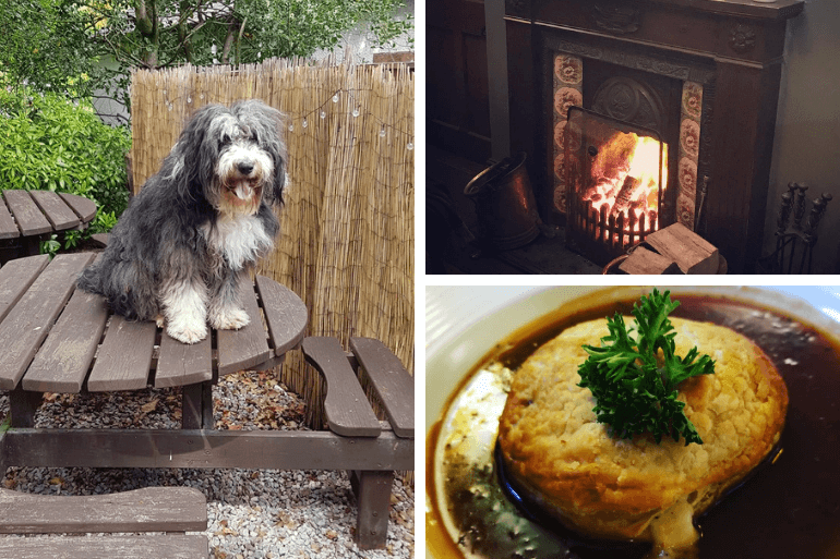Taffy the landlord, hot food and a warm fire