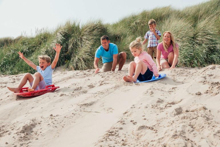 Family sandboarding