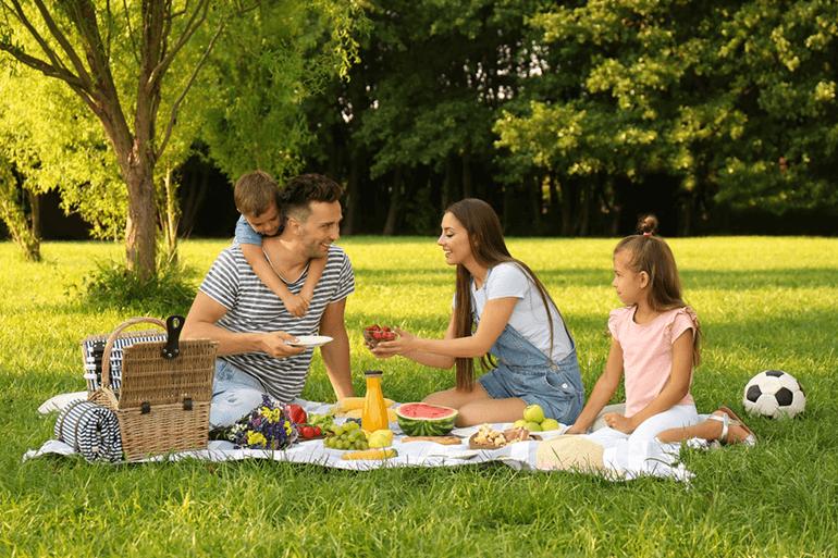 A family enjoy a picnic on the grass