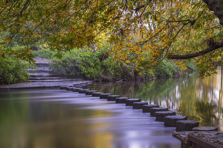 Tranquil stepping stones at Box Hill, Surrey
