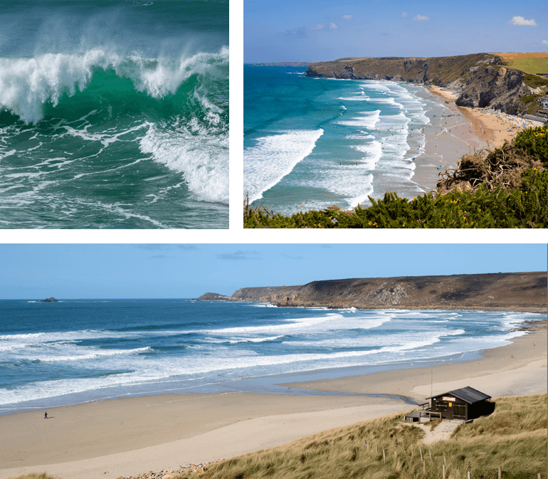 Beaches in Cornwall - waves at Newquay, beach at Sennen Cove, and Watergate Bay