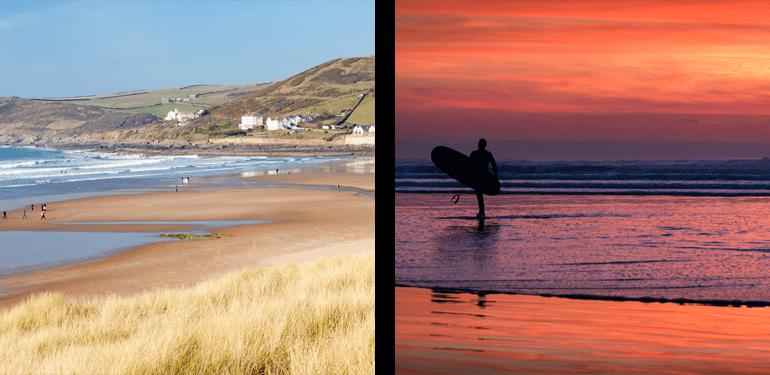 Devon beaches - Croyde and a surfer at Westward Ho!