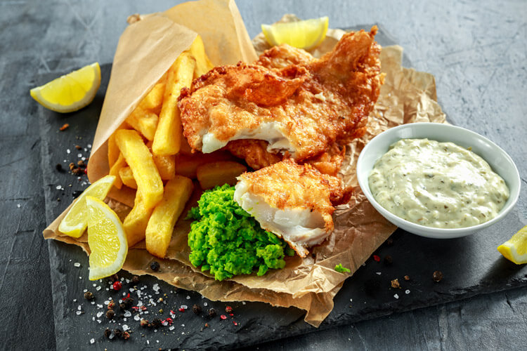 fish and chips - dog-friendly places to eat in Seahouses