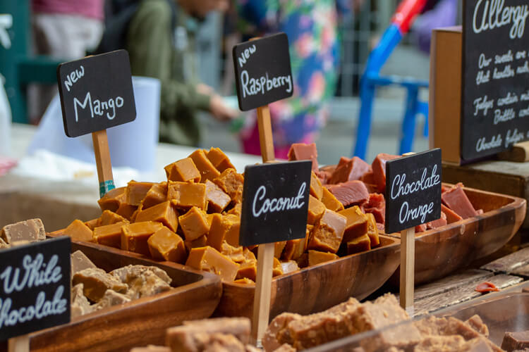 Delicious fudge on a market stall