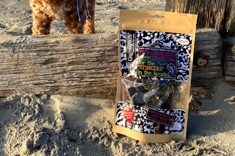 Dog treats with charcoal
