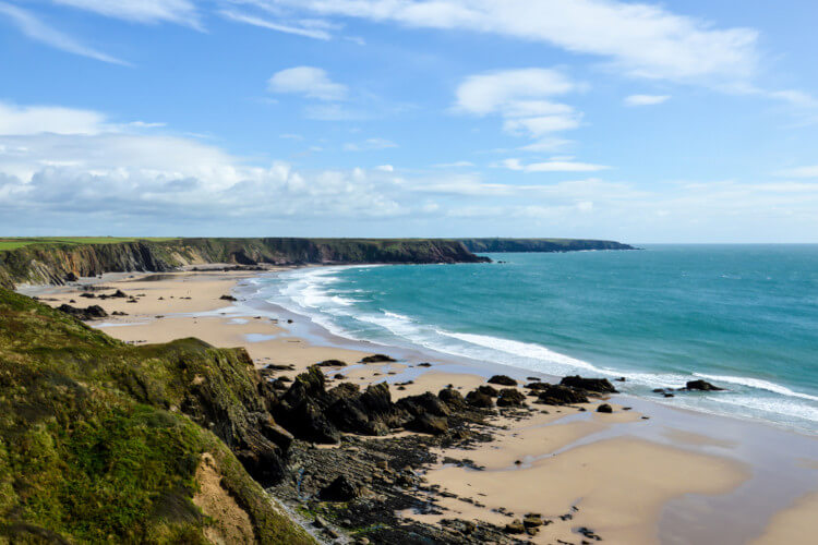 Lapping waves at Marloes Sands