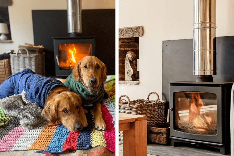 All cosy next to the wood burner