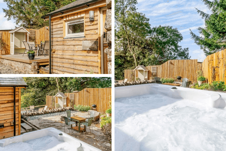 Fully enclosed garden with bubbling hot tub