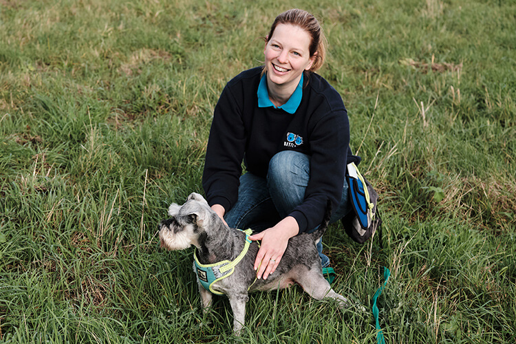 Dog in a field with Battersea staff