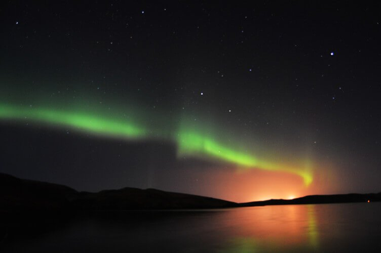 Northern lights above Shetland Islands