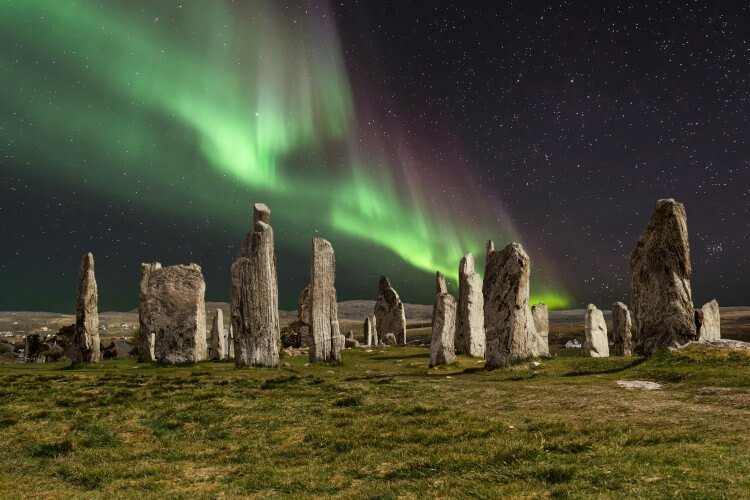 Northern lights over the Callanish Stones, Harris