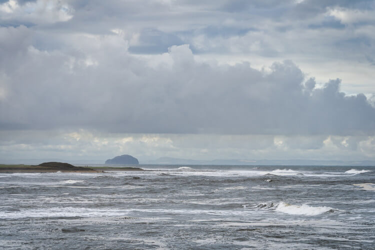 The view out to Bass Rock and Fife from White Sands Beach