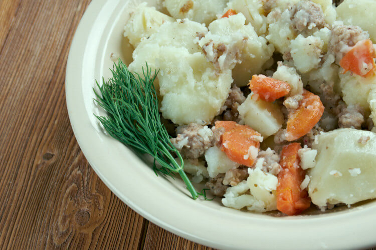 Scottish mince and tatties - Stovies - can be served with or without carrots!