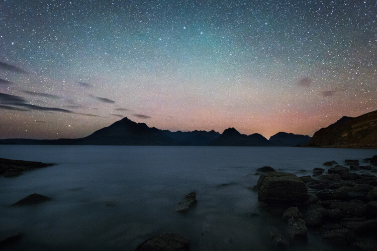 A star-lit sky over the Isle of Skye, west coast Scotland