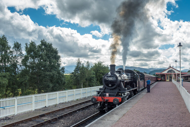 Take a ride on a traditional steam train from Aviemore to Nethy Bridge