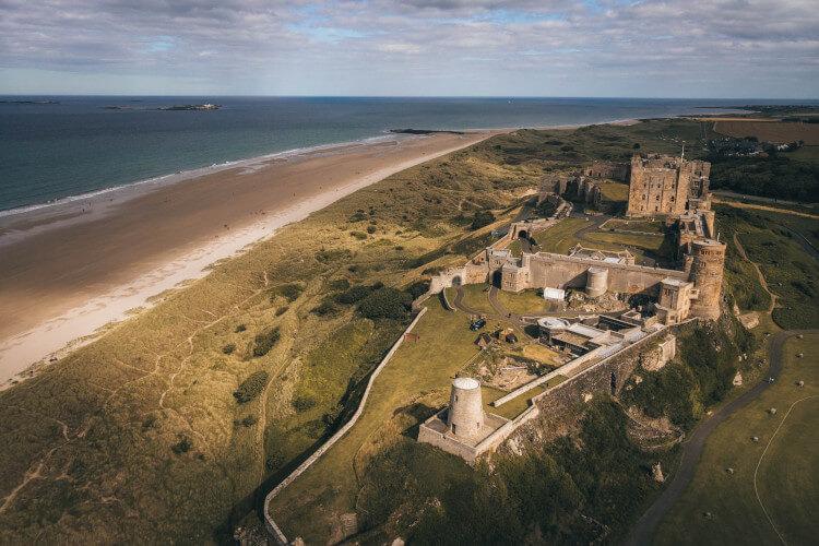 Bamburgh Castle beach in Northumberland