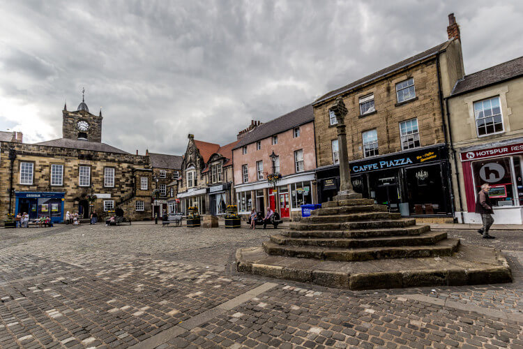 The historic town centre of Alnwick in Northumberland