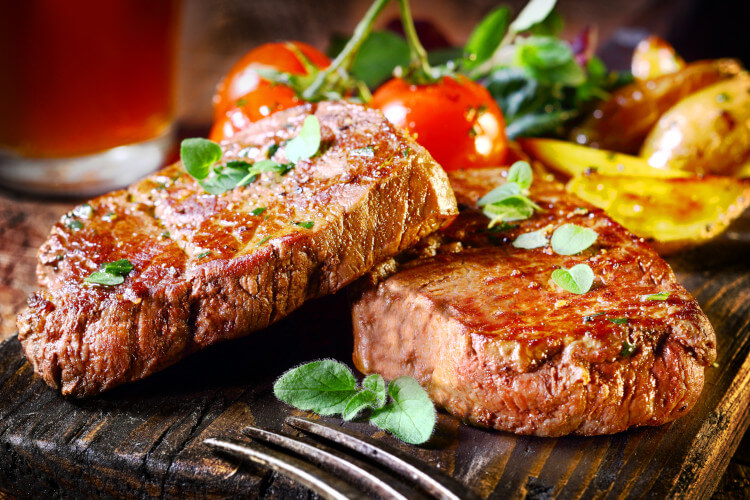 Enjoy a steak dinner during your Northumberland holiday.