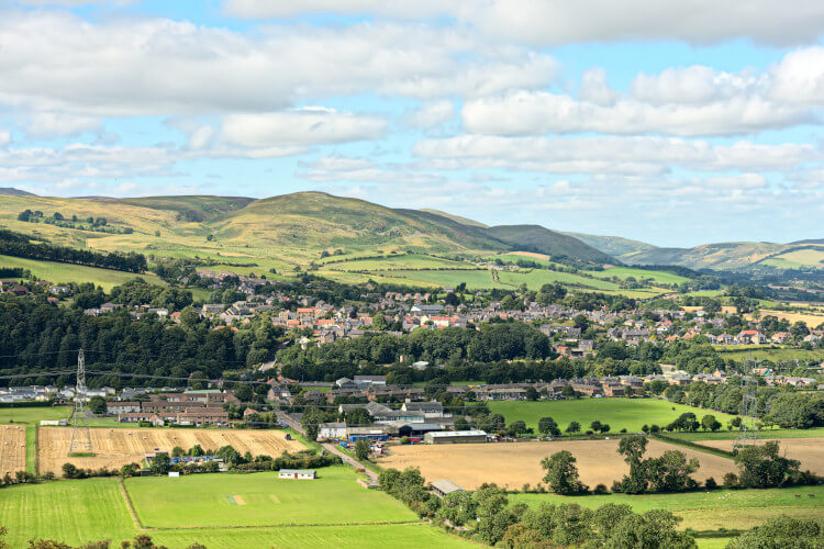 The village of Wooler in Northumberland