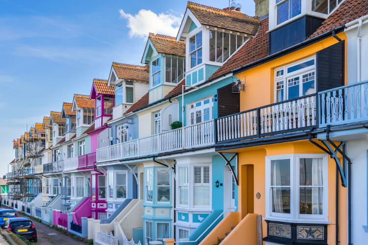 Colourful houses in Whitstable, Kent