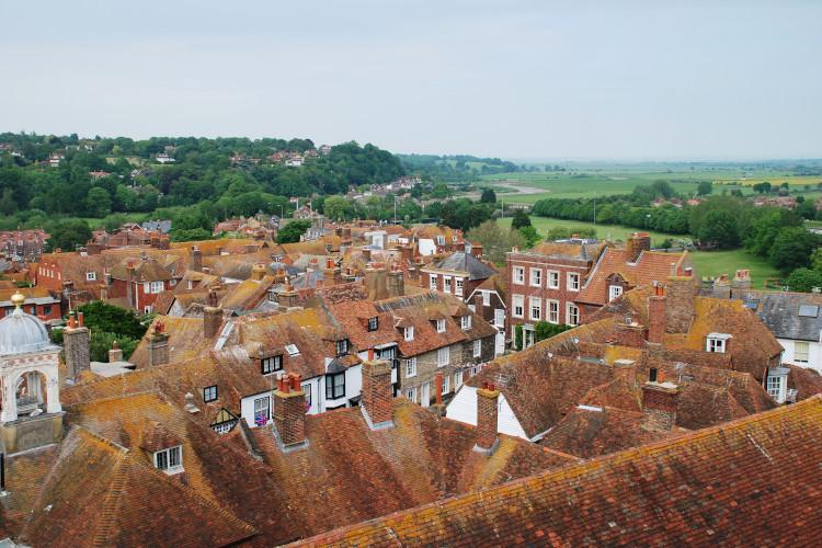 Rye town centre over the rooftops